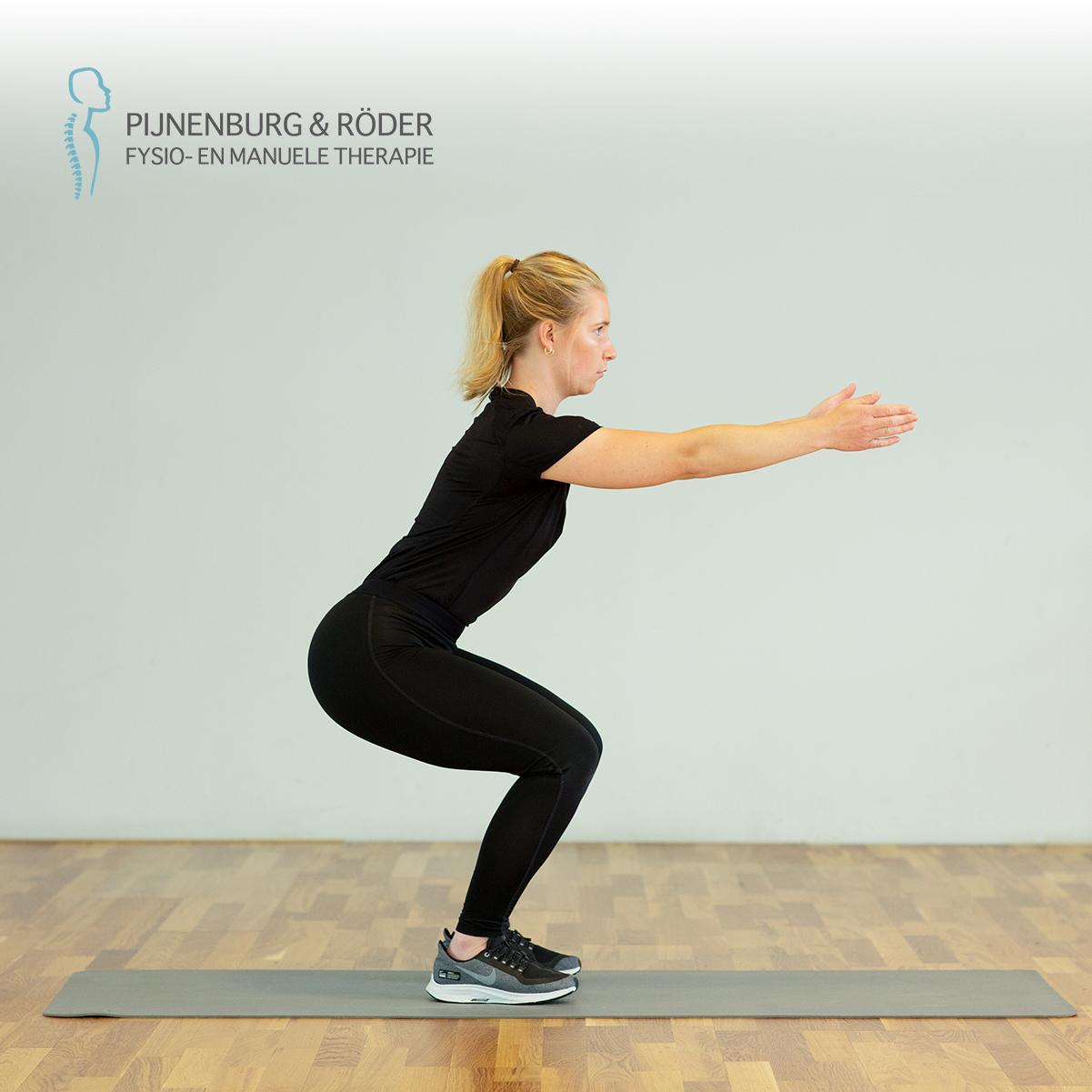 kracht oefening knie air squat